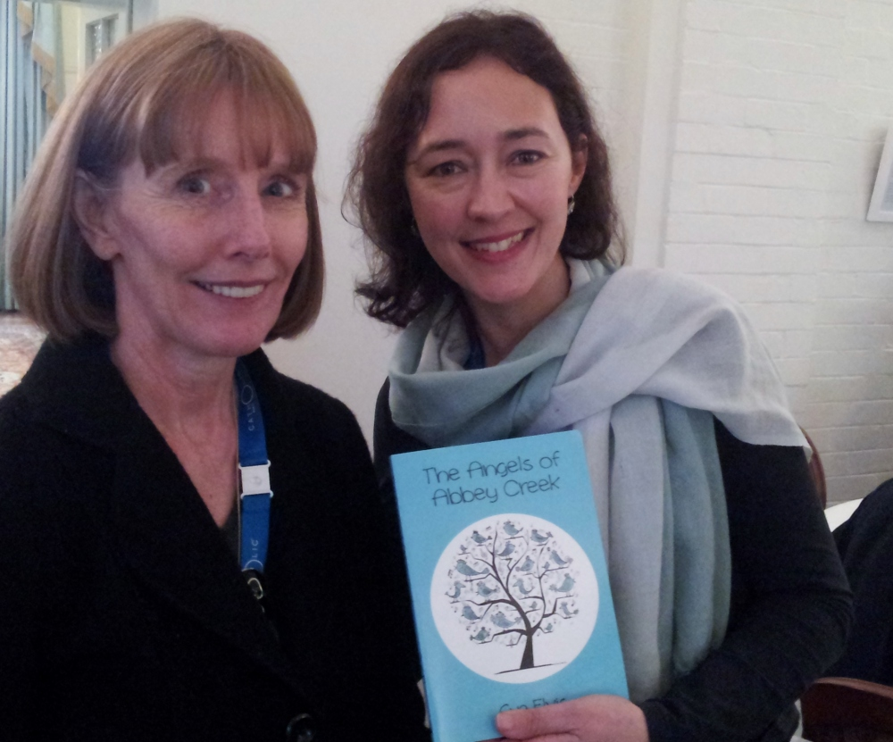 With author and blogger Sue Elvis and her new book, The Angels of Abbey Creek.
