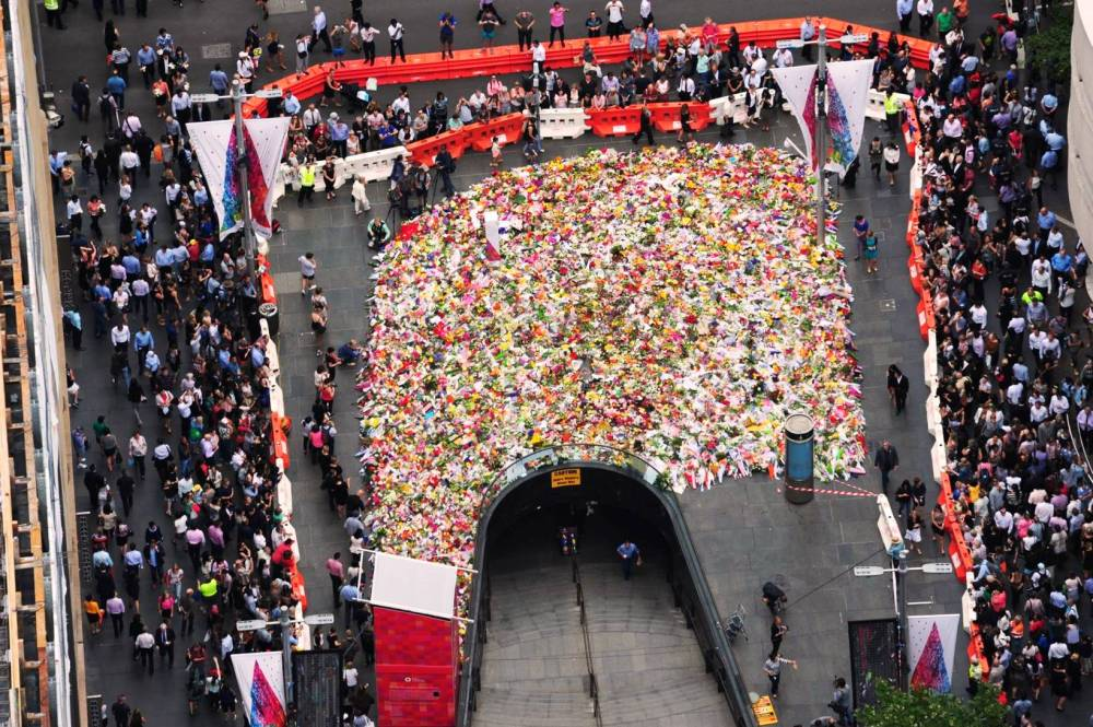 The floral tribute at Martin Place. Photo by NSW Police.
